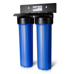 iSpring WGB22BM 2-Stage Big Blue Whole House Water Filtration System with 20-Inch Carbon Block and Iron/Manganese Reducing Filter.