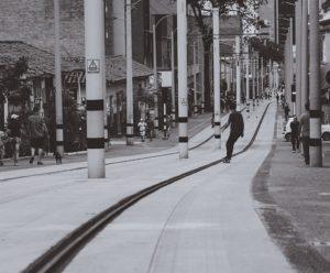 Skateboarding on street.