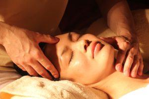 Woman getting massage.