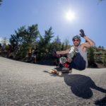 Man skateboarding.