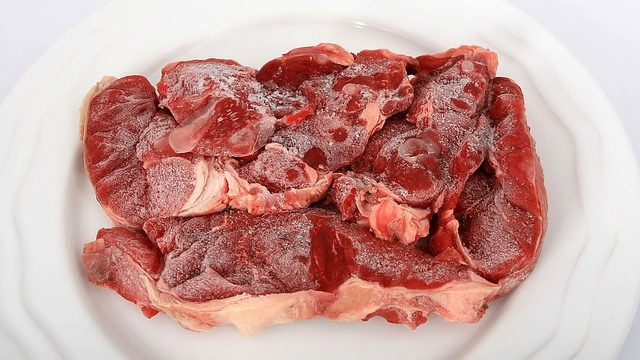 Raw beef.