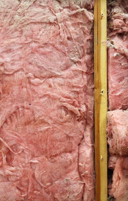 Pink fiberglass insulation.