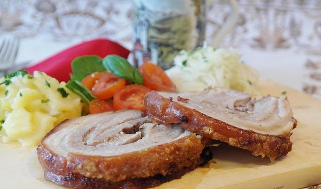 Sliced pork.