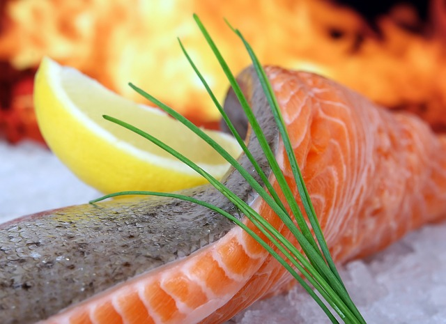 salmon with herb and a slice of lemon