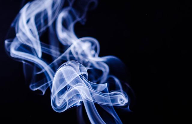 Thin and blue smoke.