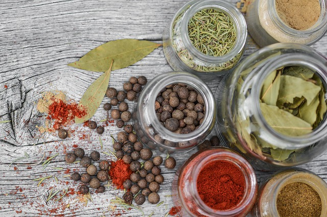 Spices and herbs on the table.