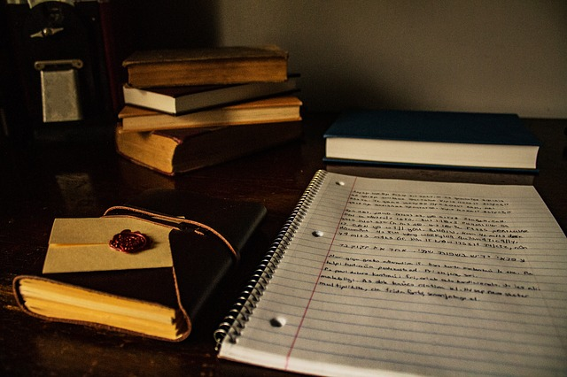 Notebook with writing.