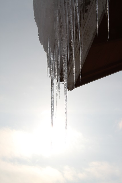 Icicles hanging off roof.