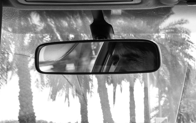 Rear view mirror black and white.