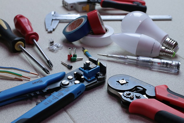 Assortment of tools and spare parts.