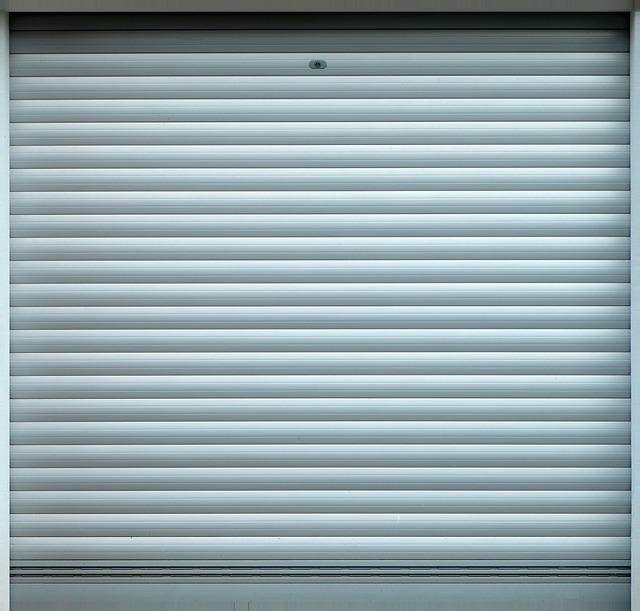 Closed garage door.