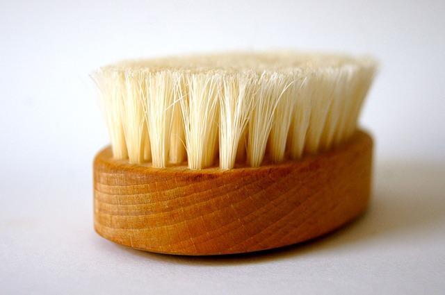 Close up of a sauna brush.