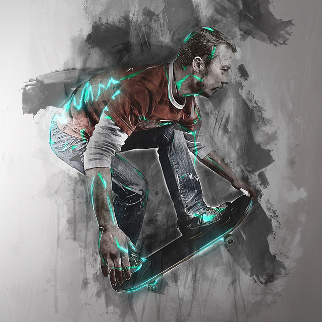 Abstract painting of man on skateboard.