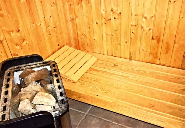 Sauna bench and heater.