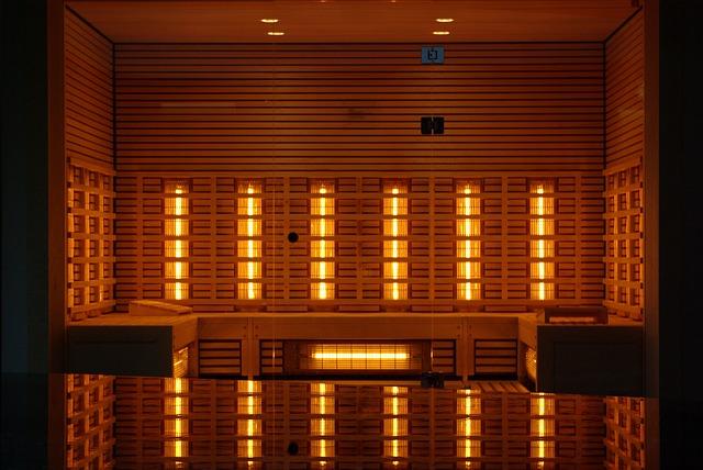 Interior of a large infrared sauna.
