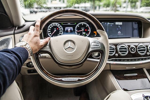 Mercedez-Benz steering wheel.