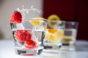 Water with fruits.