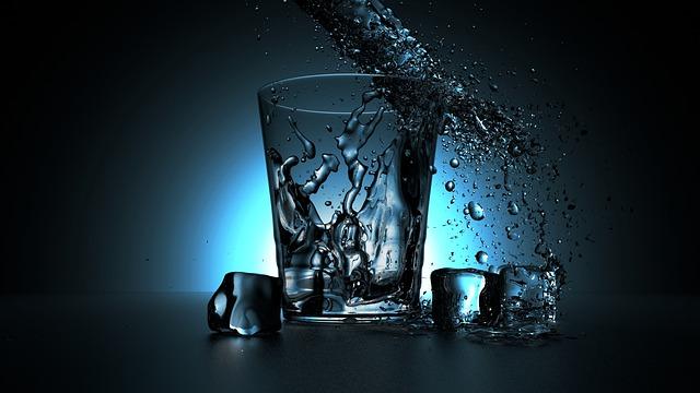 Glass of refreshing ice water.