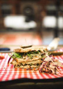 Triple-bread sandwich.