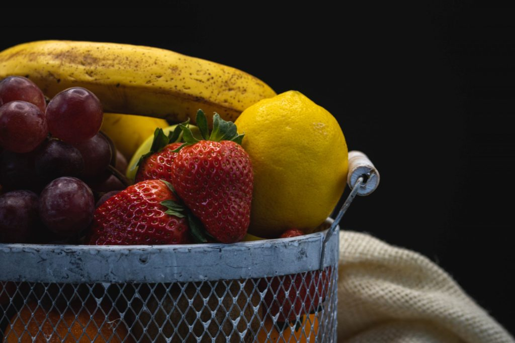 Fruits in a basket.