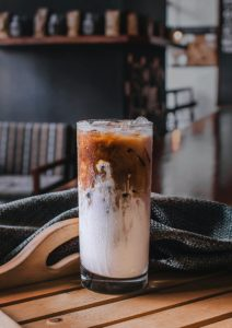 Iced coffee in a glass.
