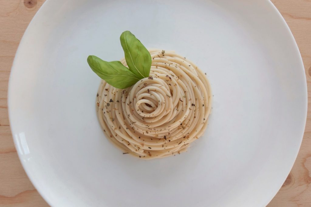 Pasta on a plate.