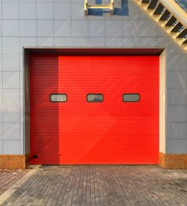 Red garage door.